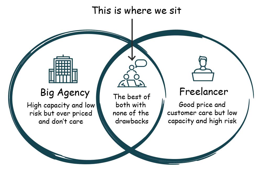Big SEO Agency VS SEO Freelancer Venn Diagram